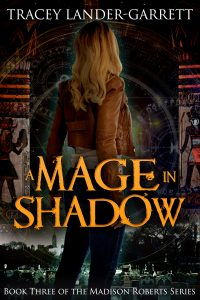 Book Cover for A MAGE IN SHADOW. A young woman with blonde hair and jeans stands before two Egyptian pillars. She stands in cemetery with a New York City skyline in the distance. She is surrounded by occult symbols.